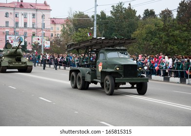 RUSSIA-SEPTEMBER 17: Parade in Bryansk city on September 17,2013. Bryansk is a city and the administrative center of Bryansk Oblast, Russia, located 379 kilometers (235 mi) southwest of Moscow.