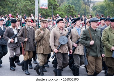 RUSSIA-SEPTEMBER 17: Parade in Bryansk on September 17,2013. Bryansk is a city and the administrative center of Bryansk Oblast, Russia, located 379 kilometers (235 mi) southwest of Moscow.