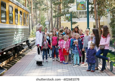 Russia.Siberia. 2016. The children's railway. A group of children. Tour by train