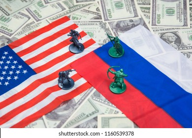 Russia-US trade war concept - Military Battle on Russia and American Flags