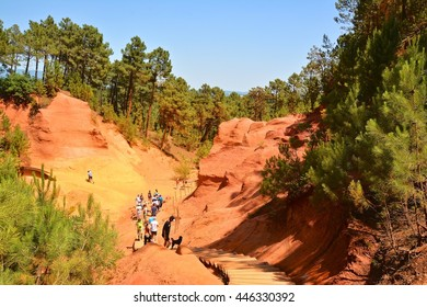 Russillon provence view of the gorges of red and yellow ocher in the forest and rock formations