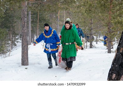 "Russkinskaya village, Khanty-Mansiysk Autonomous Okrug / Russia - 03.21-24.2016: The traditional ritual celebration of the Eastern Khanty ""The Bear games». Khanty men participate in the ritual."
