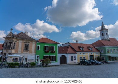 Rust, Austria - June 26 2018: Small beautiful village in sunny day.