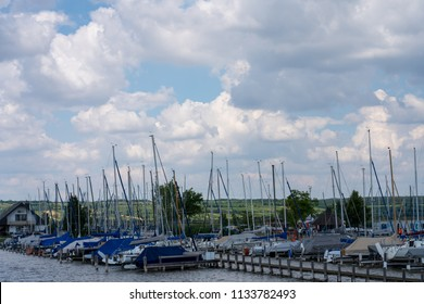 Rust, Austria - June 26 2018: Sailing boat by the Lake Neusiedl.