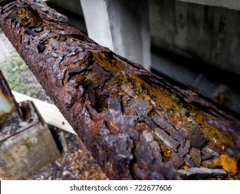 Rust and corrosion in the pipeline and metal skin.Corrosion of metal.Rust of metals.Old pipeline .