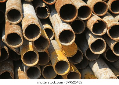 Rust deformation steel pipe in the construction site