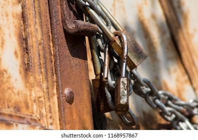rust door lock antique