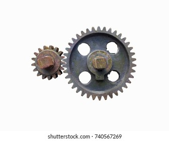 rust gear wheels isolated on white background