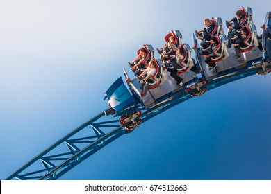 RUST, GERMANY - 22 OCTOBER 2013 : Closeup of steel Roller coaster named Blue Fire at Europa-park