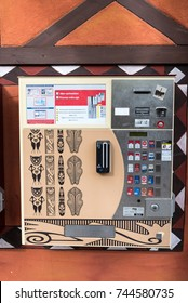 RUST, GERMANY - 23 OCTOBER 2017 : Cigarettes dispenser. Machines selling different brands of cigarettes.