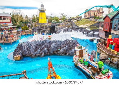 RUST, GERMANY - March 31, 2018 - Guests riding boats in Europa-Park. Europa-Park is a second largest park resort in Europe.