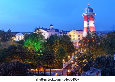 RUST, GERMANY - MAY 15: Skyline view of thematic Hotel Bell Rock in Europa Park, Rust, Germany, the largest theme park in Germany and the second most popular in Europe on Dec. 15, 2016