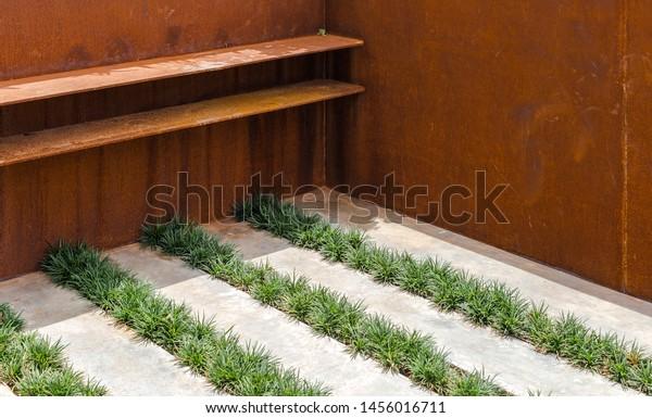 Rust Metal Steel Glass Planter Floor Nature Industrial Stock Image