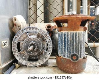 Rust on metal motor machinery