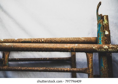 Rust scaffolds with white texture background. Close up rust scaffold with vintage style.