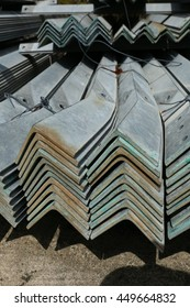 Rust steel angle for raw material in warehouse
