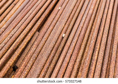 Rust steel tubes of the heat exchanger, the water heater in the boiler as background at fabrication industrial