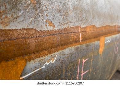 Rust of steel weld joined