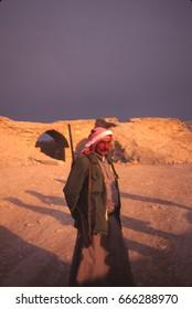 RUSTAFA, SYRIA -  NOV 4, 1996 - Armed guard at the ancient site of Rustafa,Syria, Middle East