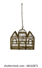Rusted Antique Birdcage isolated on white