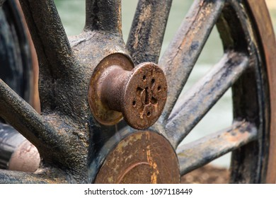 Rusted antique wheel.