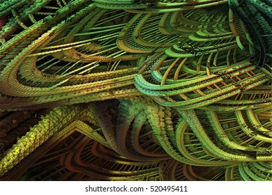 Rusted and broken spiral fractal, 3D rendering