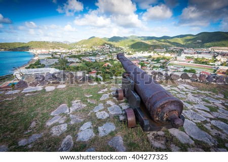 A rusted canon from