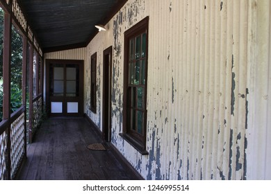 Rusted corrugated iron walls