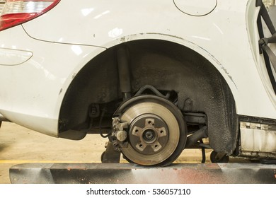 Rusted disc brake and caliper on car with space for text input. Adjustment  beautiful color  image  and soft focus style.