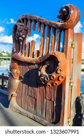 RUSTED ENTRANCE TO CARNIVALE, GOLD COAST, AUSTRALIA-12th JANUARY 2019:-Carnivale celebrations with street performers, dancers, bands and fire twirlers.