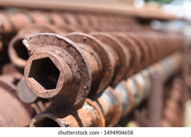 Rusted industrial geotechnical drill bits