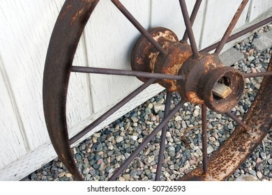 Rusted metal antique wheel.