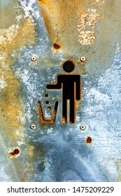 Rusted Metal Litter Sign or Litter Symbol. Looks Radioactive or Decayed. Keep Litter Off the Street. Bin it. Keep Streets Clean. Throw it in the Bin. No Littering. Waste Less. No Trash. No Rubbish.