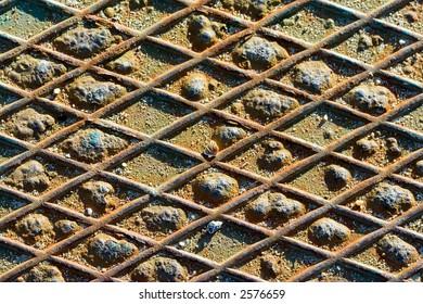 Rusted metal plate closeup