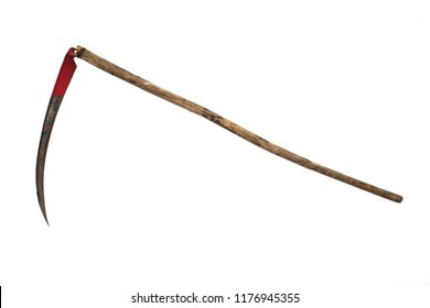 rusted metal scythe isolated on a white background