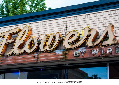 A rusted neon sign seen in Seattle, Washington.
