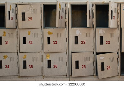 Rusted old cabinet lockers