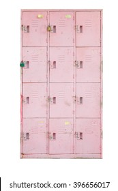 Rusted old pink cabinet lockers,isolated on white
