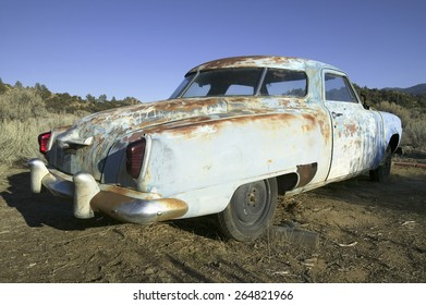 Rusted out mid-50's blue Studebaker on side of road, Route 33, near Cuyama, California