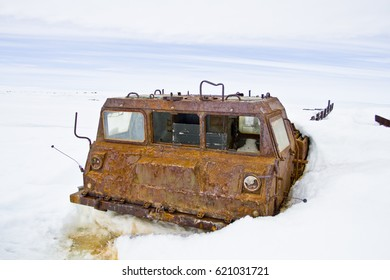 rusted remains of a tractor-Antarctica
