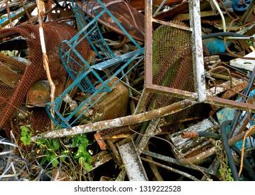 Rusted scrap metal pile.
