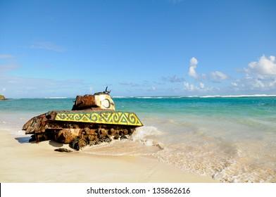 Rusted tank on the beach at Culebra, Puerto Rico