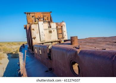 Rusted vessel in the ship cemetery, Aral sea, Uzbekistan