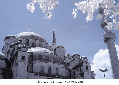 Rustem pasa cami mosque in istanbul eminonu surrounded snowy foliage infrared photo