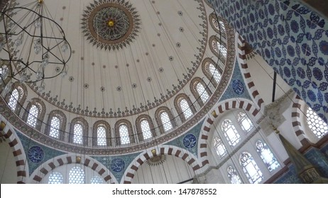 Rustem Pasha mosque dome interior in Istanbul in Turkey