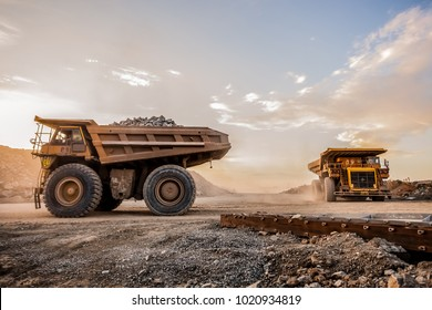 Rustenburg, South Africa, 10/15/2012, Dump Trucks transporting Platinum ore for processing