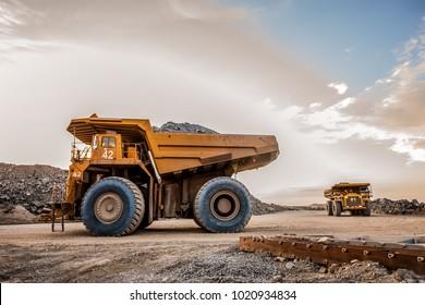 Rustenburg, South Africa, 10/15/2012, Dump Trucks transporting Platinum ore for processing