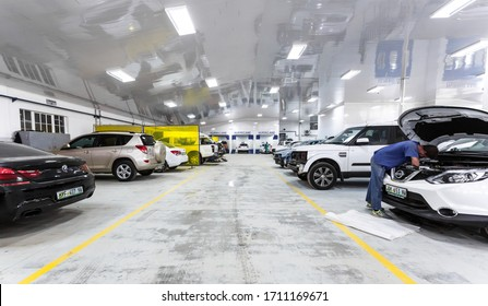 Rustenburg, South Africa - February 9, 2015:  Inside an empty panel beater vehicle workshop for fixing damaged cars