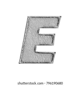 Rustic aged silver style uppercase or capital letter E in a 3D illustration with a weathered and worn cracked surface texture in a basic bold font isolated on a white background with clipping path.