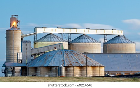 Rustic agricultural grain silos as shot at dusk on the Newell Highway in Outback New South Wales